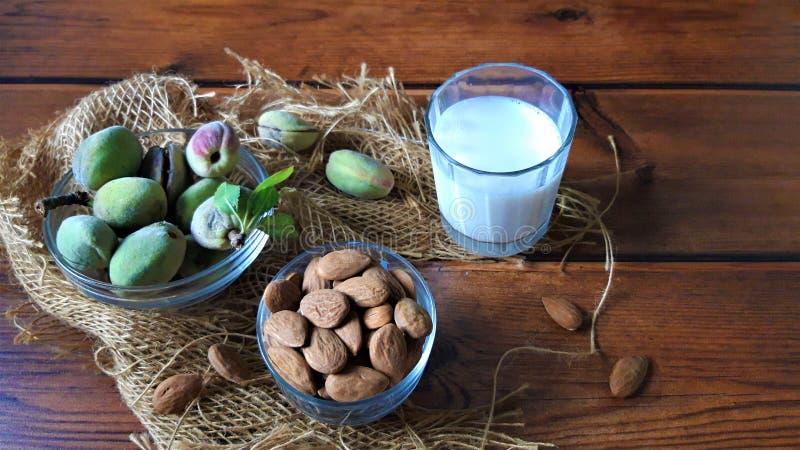 Amêndoas e leite fresco na madeira imagens de stock royalty free