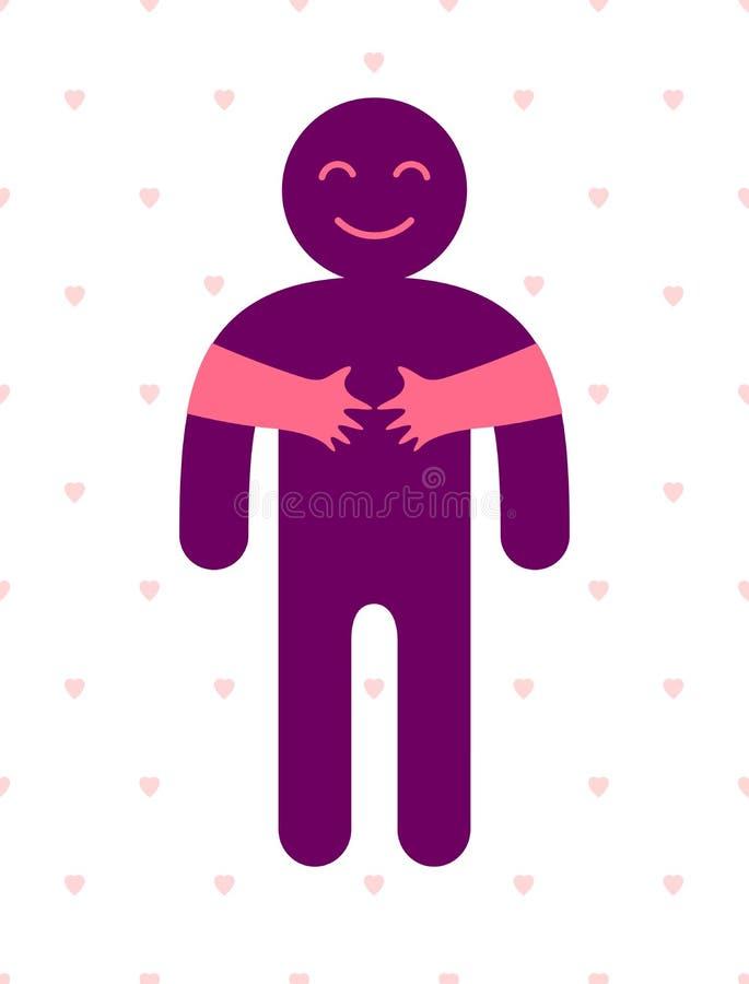 Amó al hombre con las manos del cuidado de una mujer del amante que abrazaba y acaricia su pecho, logotipo del icono del vector o libre illustration