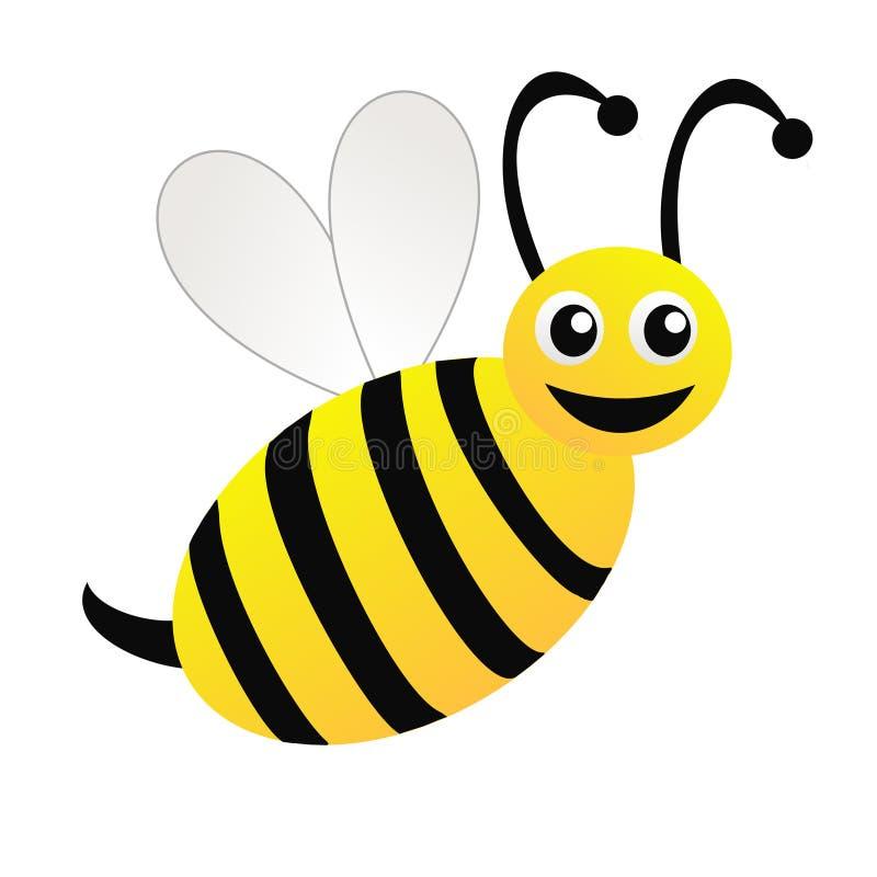 Amüsante gezeichnete Biene auf einem weißen Hintergrund stock abbildung