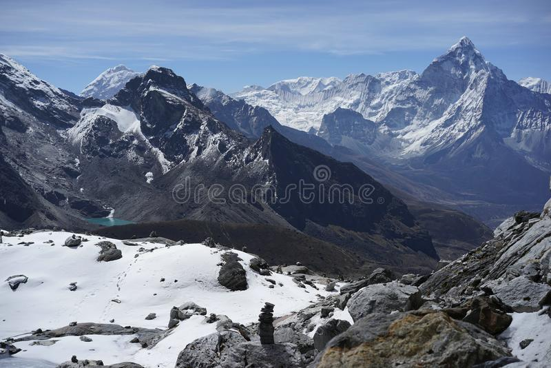 Ama Dablam in Cho La Pass in Himalayas royalty free stock image