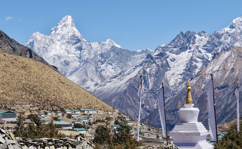 Nepal, Ama Dablan. Ama Dablam, one of the most beautiful peak in the world, Nepal royalty free stock photos