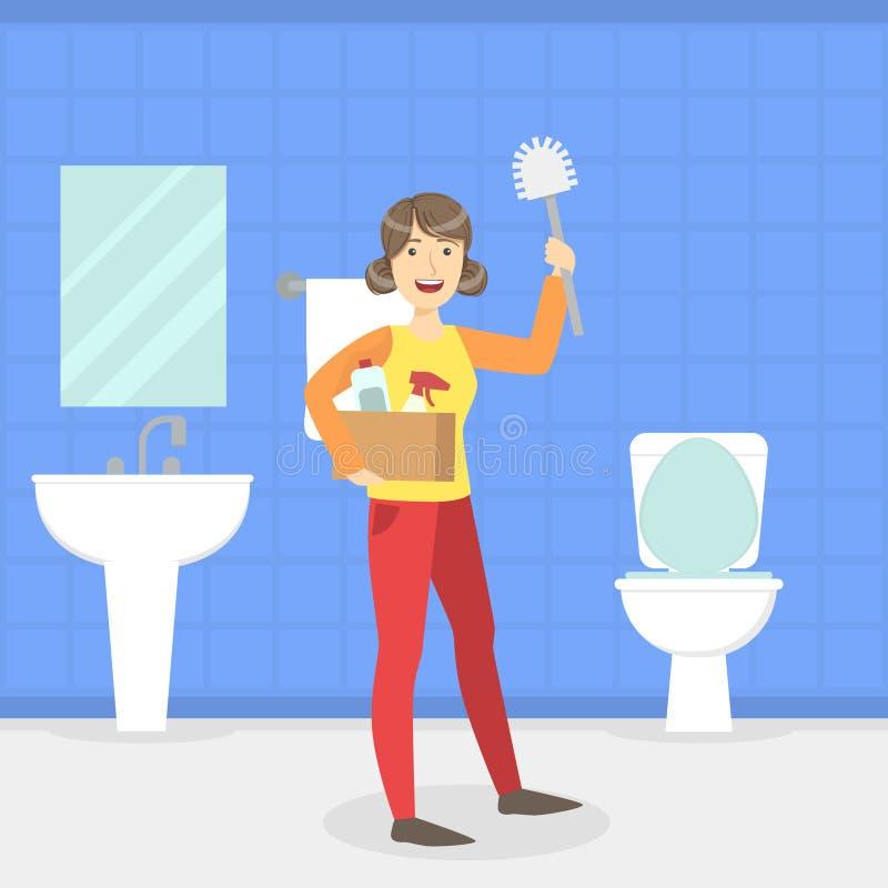 Ama de casa Cleaning Bathroom y retrete con el cepillo, trabajador de limpieza del servicio, ejemplo interior del vector del siti libre illustration