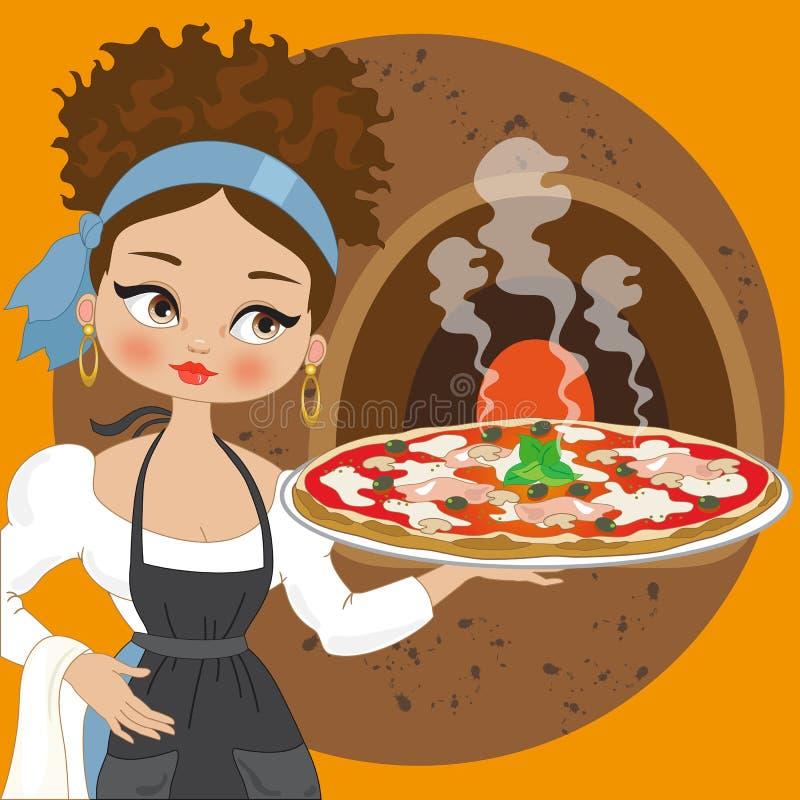 Ama de casa con la pizza stock de ilustración