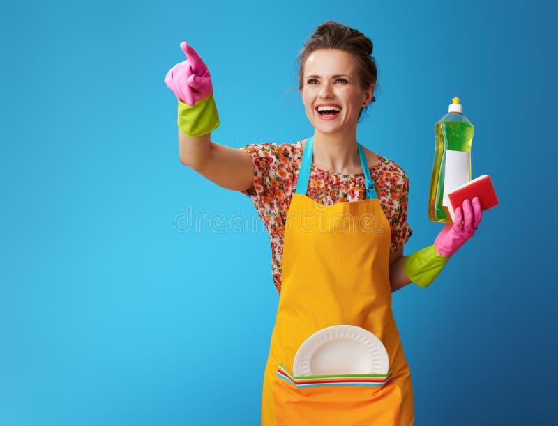Ama de casa feliz con la esponja y líquido del lavaplatos en azul imagenes de archivo