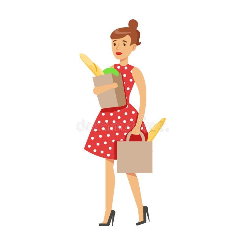 Ama de casa Grocery Shopping Carrying de la mujer dos bolsas de papel, deber clásico del hogar de ejemplo de la esposa del Perman stock de ilustración
