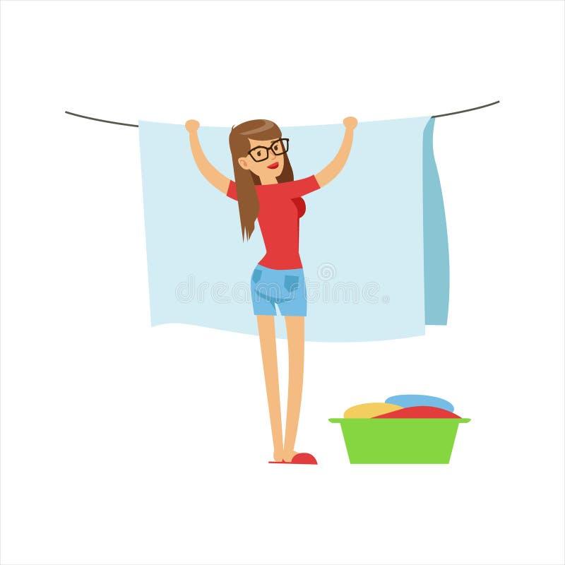 Ama de casa Hanging Wet Laundry de la mujer en la secuencia al aire libre, deber clásico del hogar de ejemplo de la esposa del Pe libre illustration