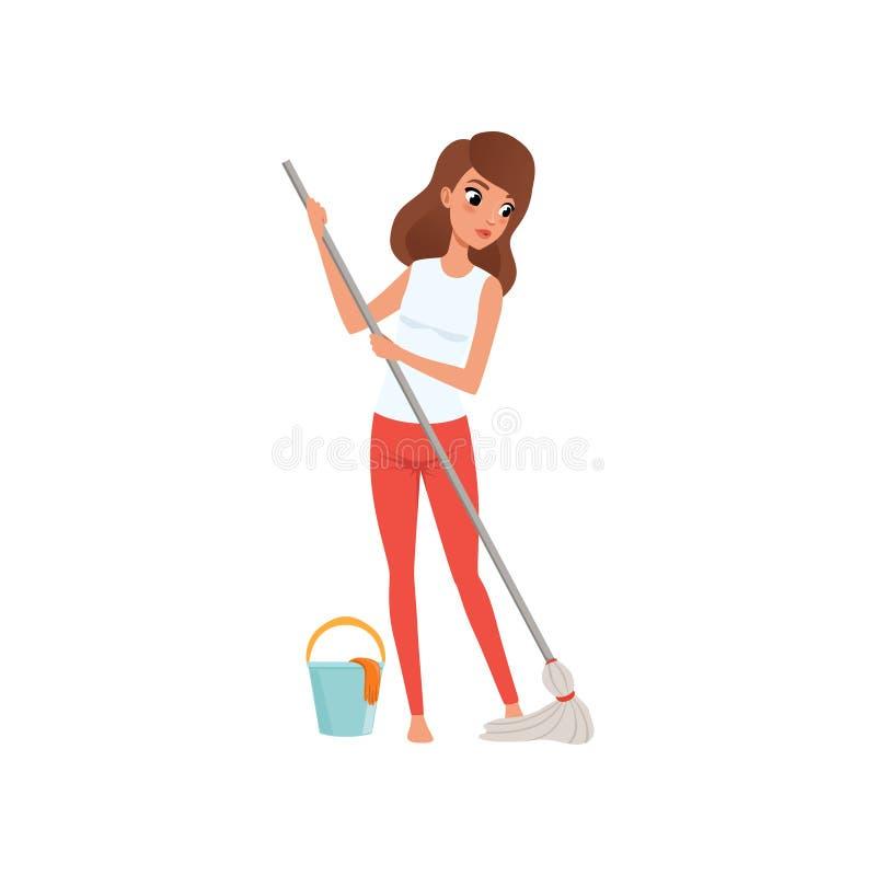 Ama de casa de la mujer joven que limpia el piso con una fregona y un cubo de agua, actividad de la gente, vector rutinario diari stock de ilustración