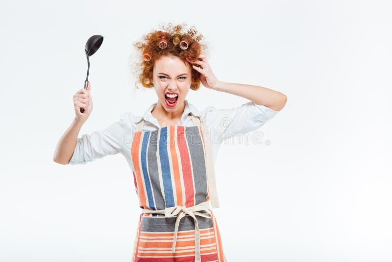 Ama de casa loca en el delantal que sostiene la cucharón de sopa imagen de archivo libre de regalías