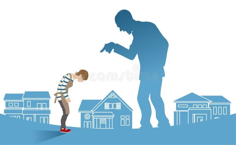 Ama de casa que es culpada por el marido - concepto a de la violencia en el hogar ilustración del vector