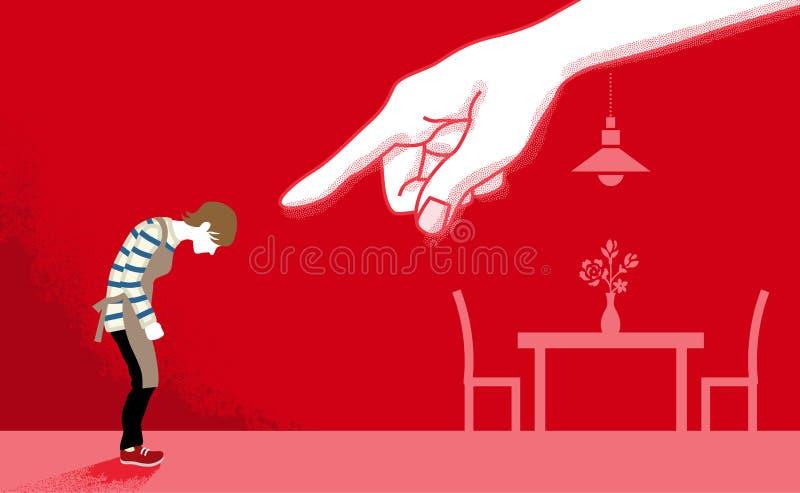 Ama de casa que es señalada por la mano enorme - violencia en el hogar co stock de ilustración