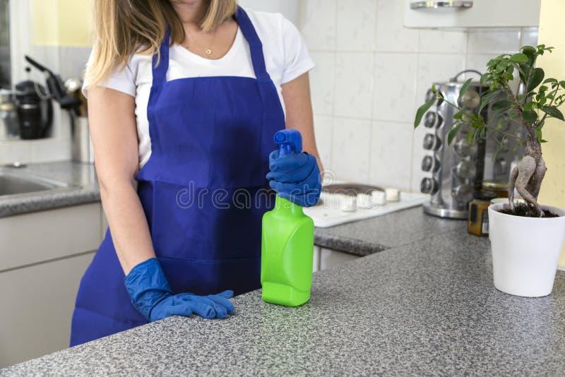 Ama de casa que sostiene productos de limpieza en cocina fotos de archivo