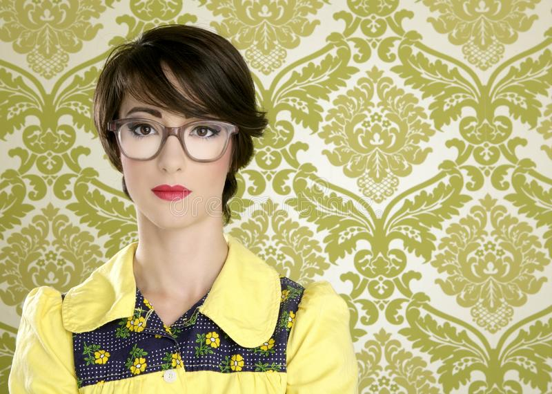 Ama de casa retra de la vendimia del retrato 70s de la mujer del empollón fotos de archivo