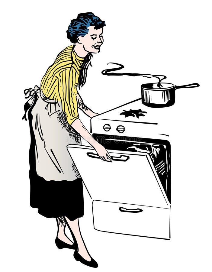 Ama de casa retra que cocina en su imagen del vector de la cocina stock de ilustración