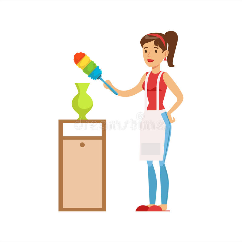 Ama de casa Wiping The Dust de la mujer del florero con el cepillo, deber clásico del hogar de ejemplo de la esposa del Permanece stock de ilustración