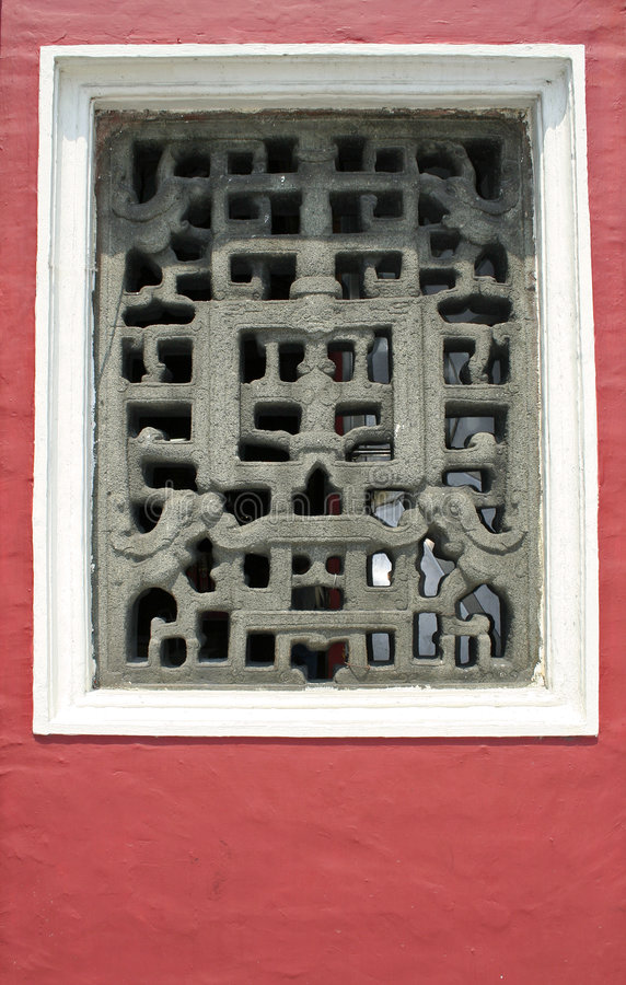 Ama temple carved window red wall macau stock photos