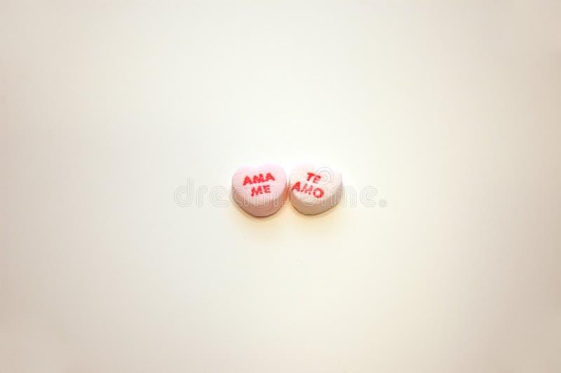 Ama yo corazones de la conversación del día de tarjetas del día de San Valentín de Te Amo foto de archivo libre de regalías