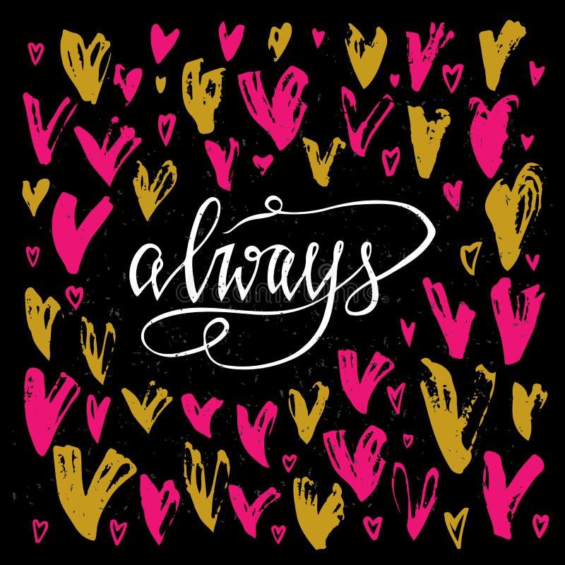 amabel Поздравительная открытка дня валентинок с каллиграфией и сердцами нарисованная конструкцией рука элементов Уникально элеме иллюстрация штока