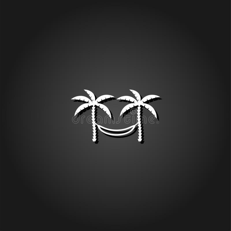 Amaca di rilassamento fra un'icona di due palme pianamente illustrazione vettoriale