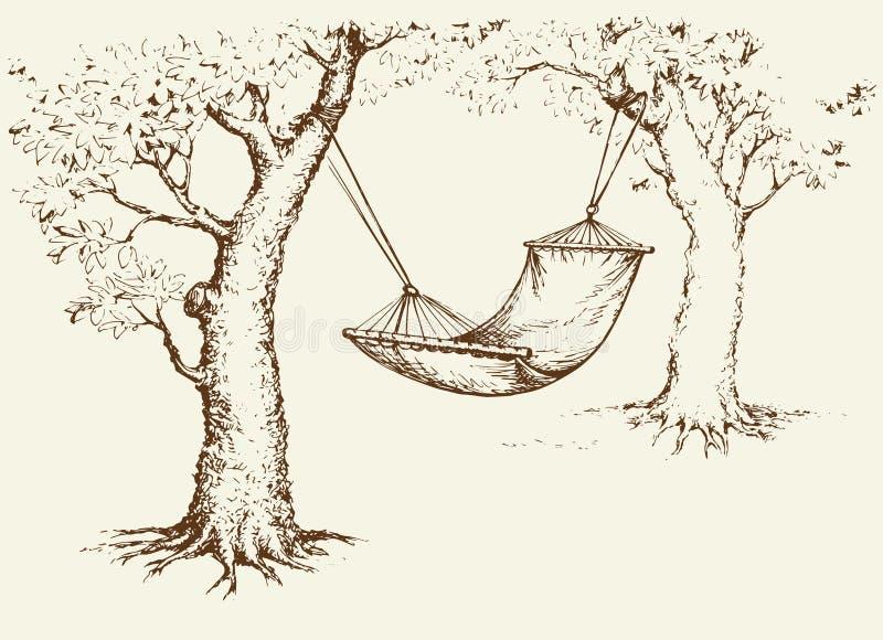 Amaca sull'albero Illustrazione di vettore illustrazione di stock