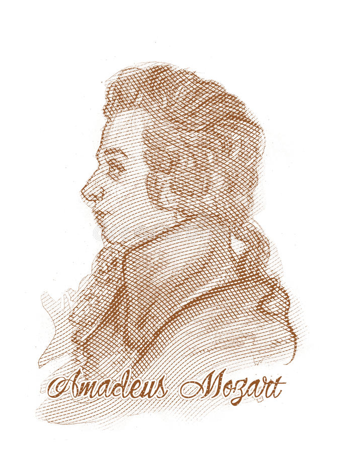 Amadeus Mozart Engraving Style Portrait. For editorial use vector illustration