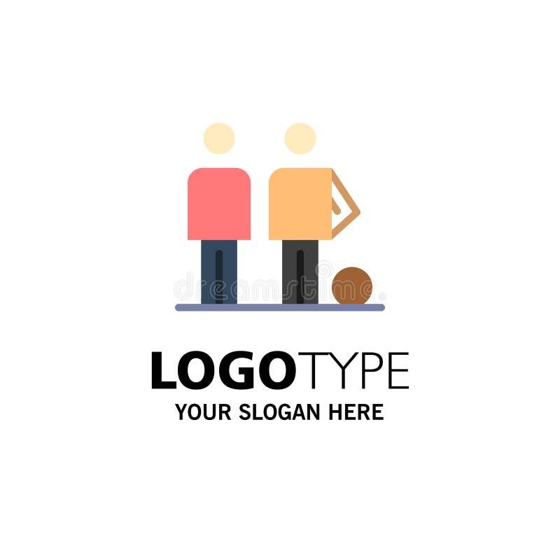 Amador, bola, futebol, amigos, negócio Logo Template do futebol cor lisa ilustração royalty free