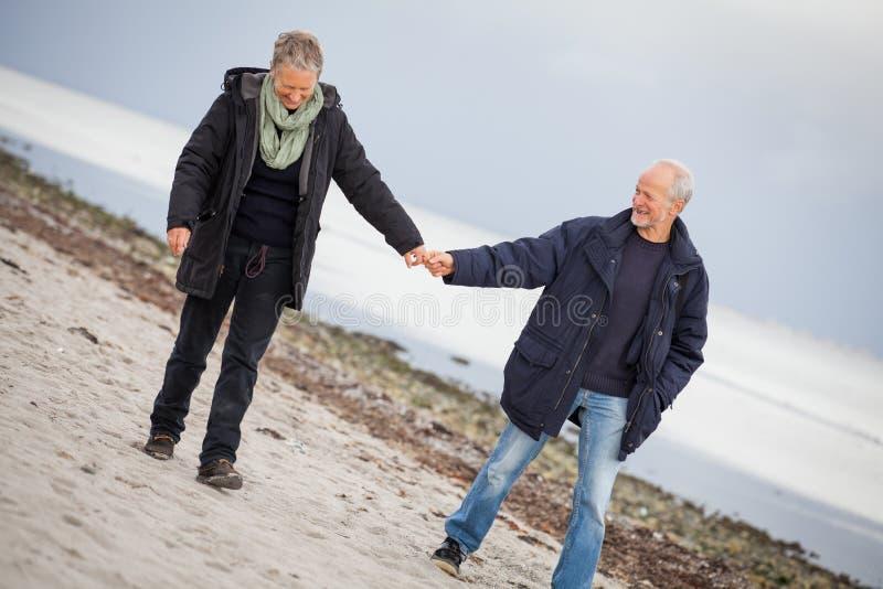 Amadureça os pares felizes que andam na praia no outono imagem de stock royalty free