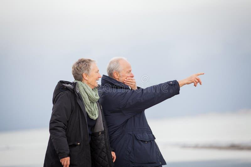 Amadureça os pares felizes que andam na praia no outono fotos de stock