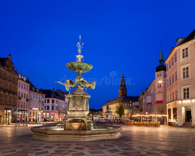Amagertorv Square and Stork Fountain in the Old Town. Of Copenhagen, Denmark stock photo