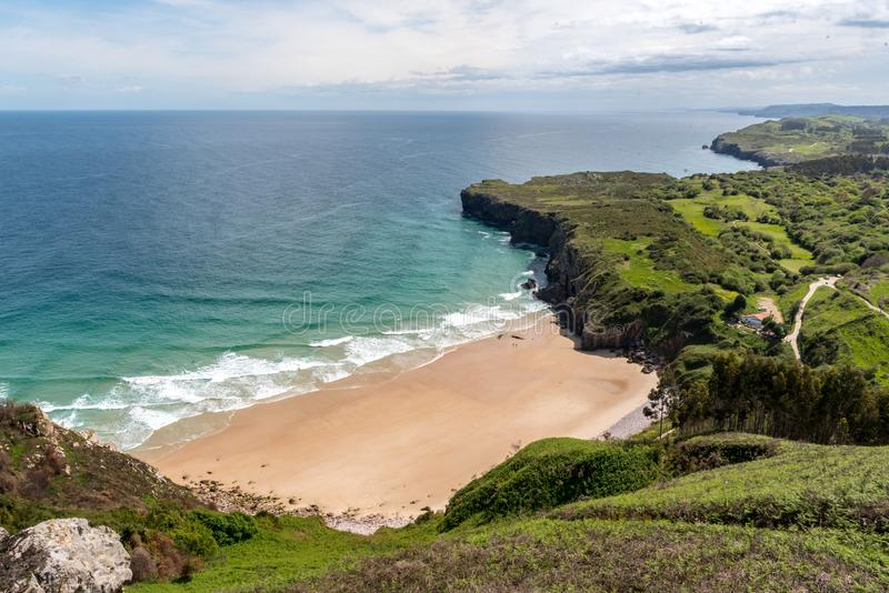 Amaizin beach in the north of Spain. Andrin beach. Llanes, Asturias stock image