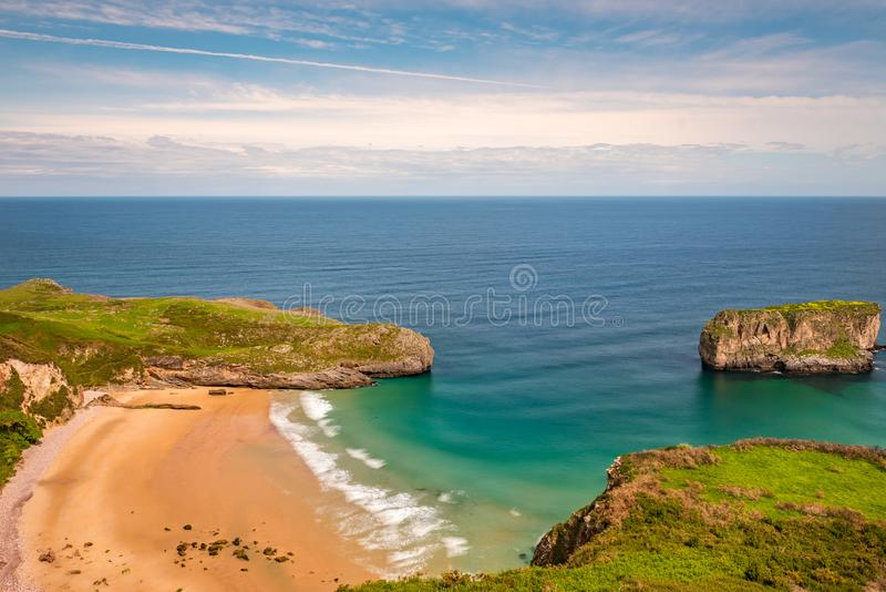 Amaizin beach in the north of Spain. Andrin beach. Llanes, Asturias stock photography
