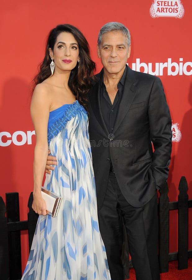 Amal Clooney et George Clooney images libres de droits