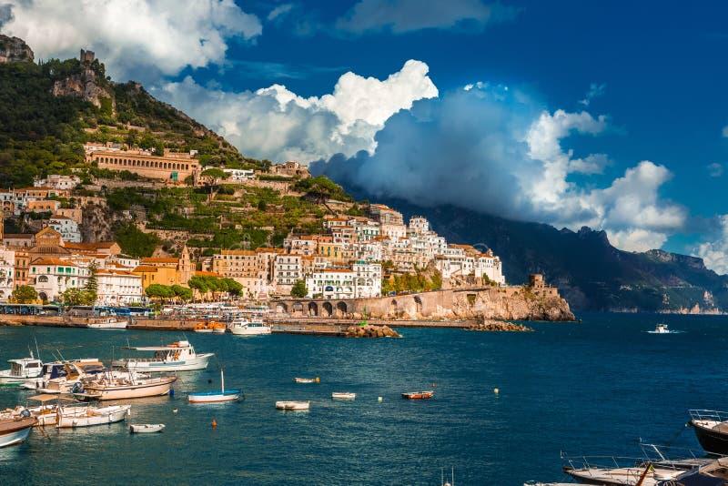Amalfi amazing view. Amazing view Sunny day in Amalfi. comune on the Amalfi Coast (Costiera Amalfitana) Italy stock image