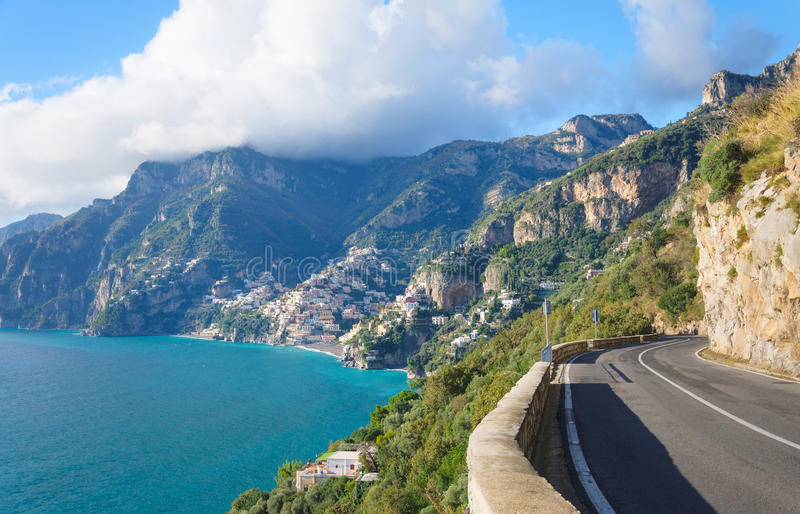 Amalfi Coast - Positano. Magically suspended between the blue sky and the iridescent colored sea, the Amalfi coast seems to be born from the palette of a painter stock images