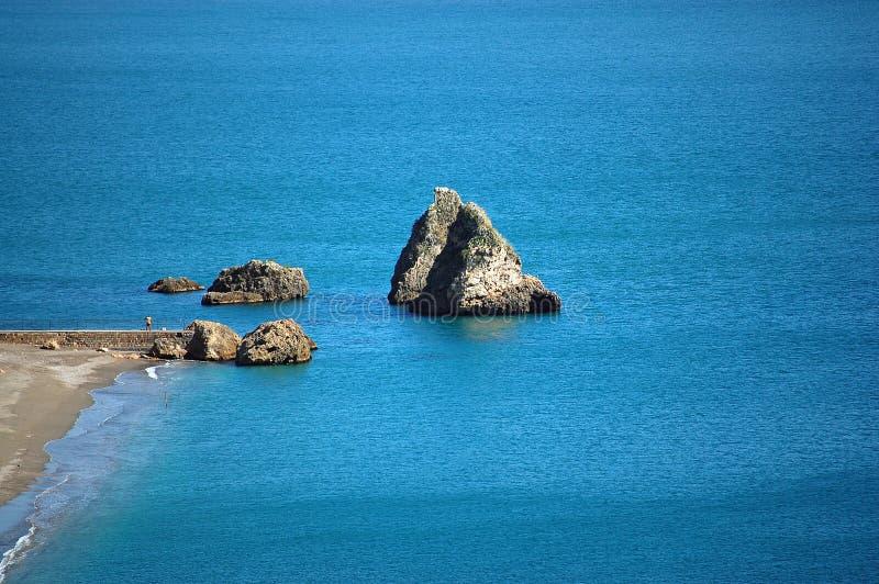Amalfi Coast - Rocks at Vietri sul Mare Beach royalty free stock photography