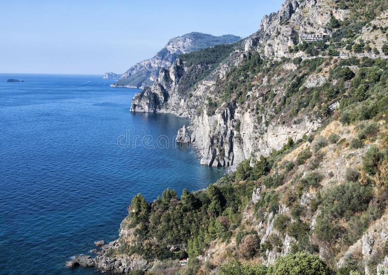 The Amalfi Coast, rugged coastline with sheer cliffs southern Italy royalty free stock photos