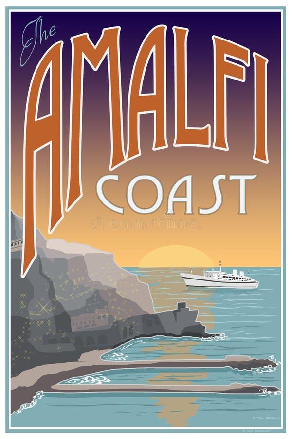 amalfi coast travel poster stock illustration