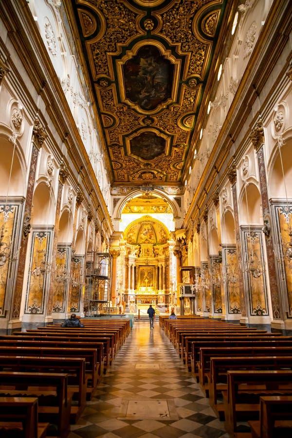 Amalfi, Italia - 3 02 2019: Interno della cattedrale della st Andrea a Amalfi, Italia fotografia stock