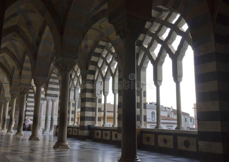 Amalfi katedra, zewnętrznie kolumnada obrazy stock