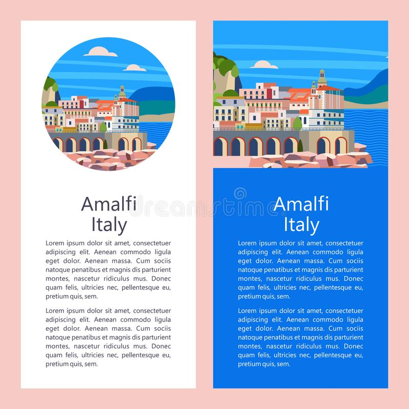amalfi kust italy Badortstad också vektor för coreldrawillustration royaltyfri illustrationer