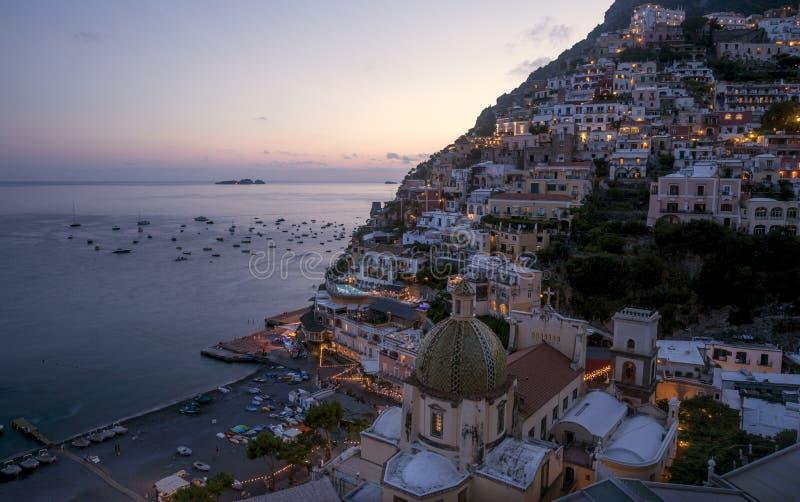 Amalfi kust - Positano stad arkivbilder