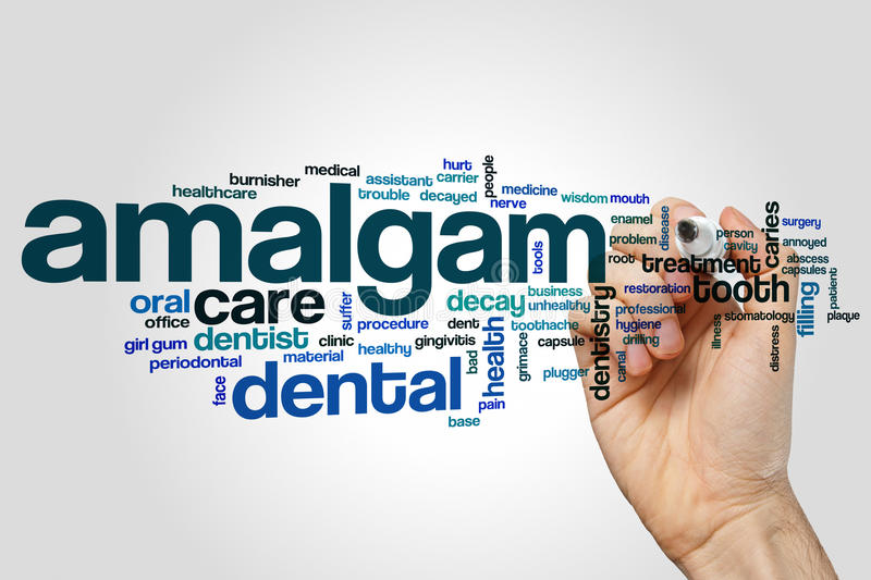 Amalgam word cloud. Concept on grey background stock photography