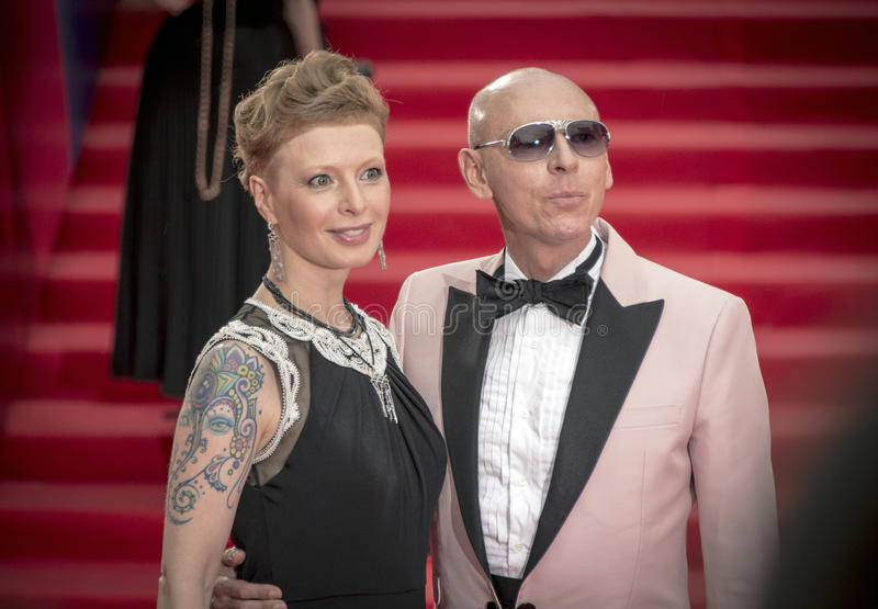 Amalia Mordvinova with the satellite on the red carpet before the opening 37 of the Moscow International film Festival royalty free stock photos