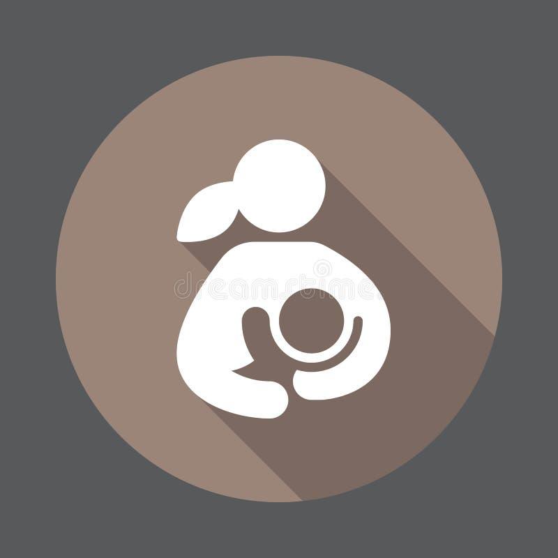 Amamantamiento, mujer que amamanta su icono plano del niño libre illustration