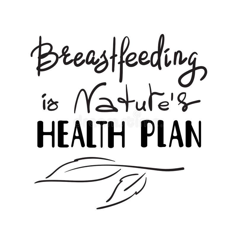 A amamentação é plano da saúde das naturezas - citações inspiradores escritas à mão da promoção ilustração royalty free