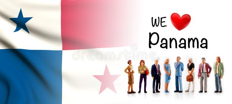 Amamos Panamá, actitud del grupo de personas de A al lado de la bandera panameña ilustración del vector