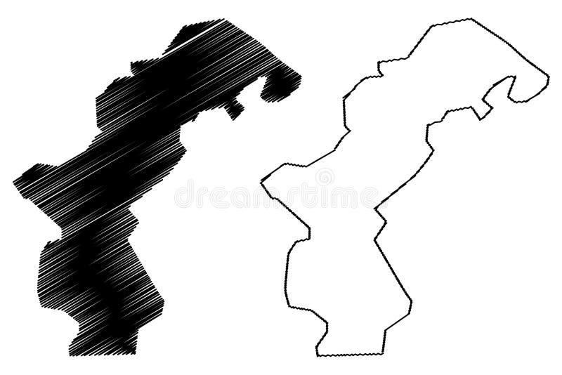 Amanat Al Asimah Governorate Governorates illustrazione di vettore della mappa di Repubblica dello Yemen, dell'Yemen, schizzo San illustrazione di stock