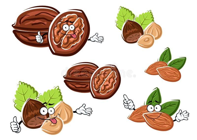 Amande, noix et noisette avec des noyaux illustration libre de droits