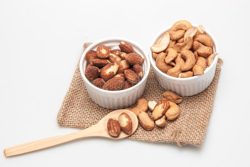 Amandelen en cashewnoot stock fotografie