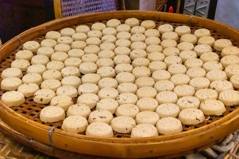 Amandelkoekjes van Koi Kei-bakkerij, Macao stock foto