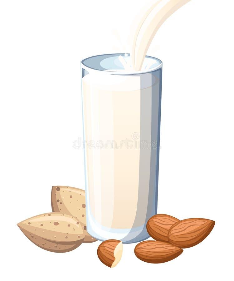 Amandelmelk het gieten in het drinken van glas Noten Vlakke die illustratie op witte achtergrond wordt ge?soleerd r vector illustratie